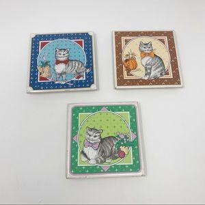 Vintage Cat Seasons Ceramic Coasters Pot Rests